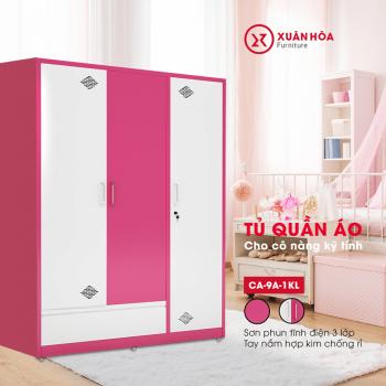Tủ sắt quần áo gia đình CA-9A-1KL màu hồng