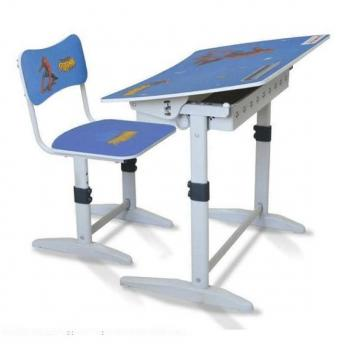 Bộ bàn ghế học sinh tiểu học BHS-14-07 màu xanh hình người nhện